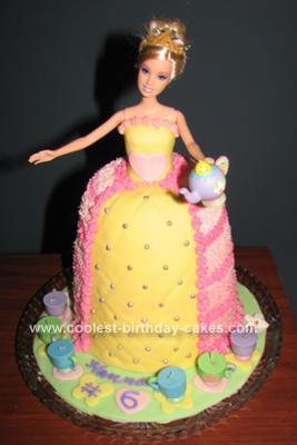 Homemade Barbie Tea Party Birthday Cake