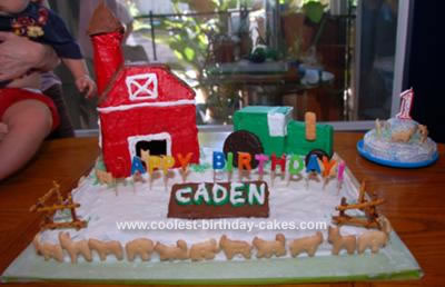 Homemade Barn and Tractor Birthday Cake