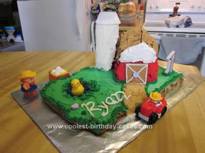 Homemade Barn Birthday Cake