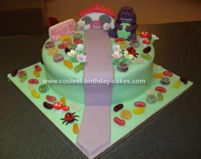Homemade Barney Cake Design