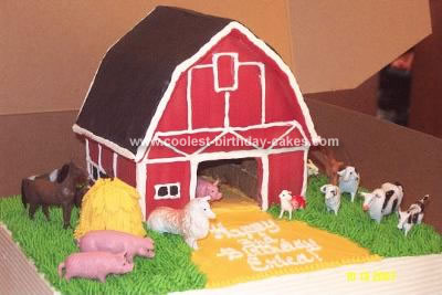 Homemade Barnyard Birthday Cake