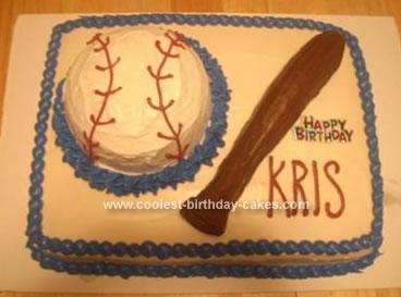 Homemade  Baseball And Bat Birthday Cake