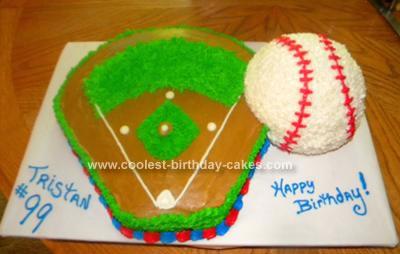 Homemade Baseball Field and Ball Cake