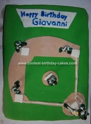 Homemade Baseball Field Birthday Cake
