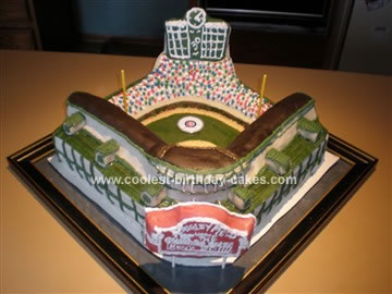 Homemade  Wrigley Baseball Field Birthday Cake