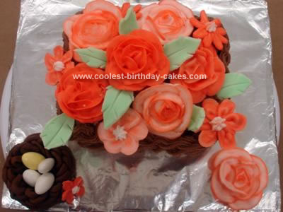 Homemade Basket Of Flowers Cake
