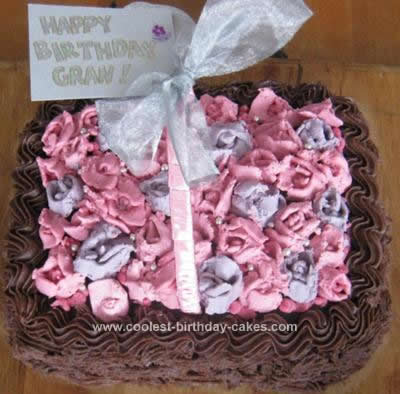 Homemade  Basket of Roses Birthday Cake