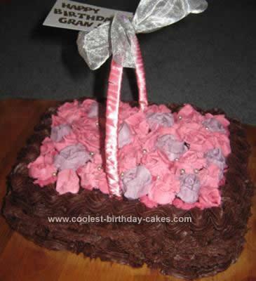Homemade  Basket of Roses Birthday Cake
