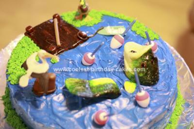 Homemade Bass Fishing Birthday Cake