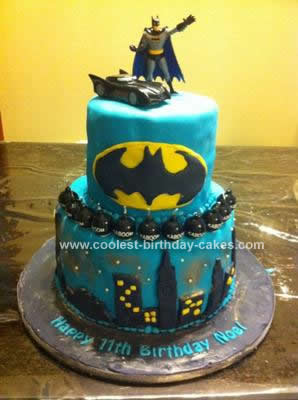 Homemade  Batman Birthday Cake Design
