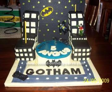 Homemade Batman Gotham City Birthday Cake