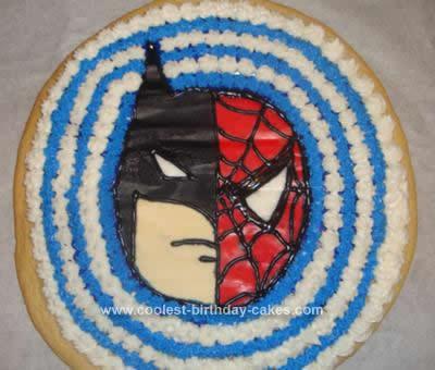 Batman Birthday Cake on Coolest Batman Spiderman Cookie Cake Idea 7