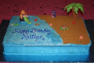 Homemade Beach Birthday Cake