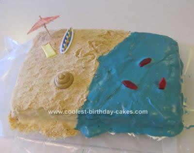 Homemade Beach Birthday Cake Idea