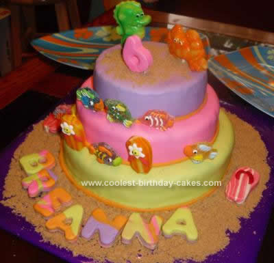 Homemade Beach Luau Birthday Cake