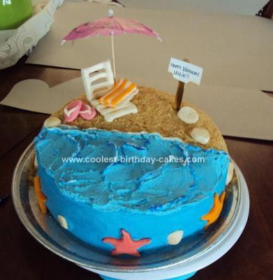 Homemade Beach Theme Birthday Cake