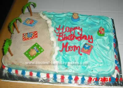 Homemade Beach Theme Cake