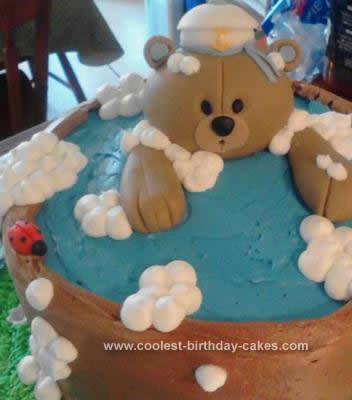Homemade Bear Baby Shower Cake