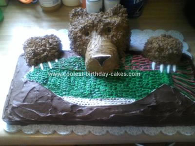 Homemade Bear Cub Birthday Cake