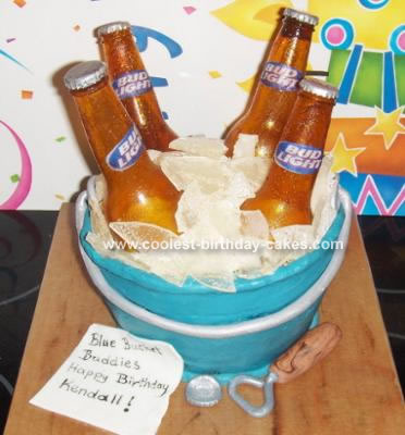 This is my second sugar beer bottle cake. It was made for a coworker's
