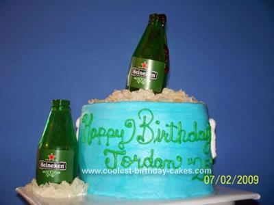 I made 2 small oval cakes for this Beer Cooler Birthday Cake.