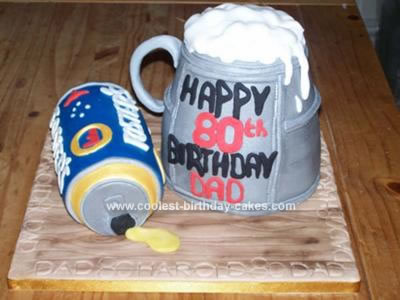 Homemade Beer Tankard and Beer Can Birthday Cake