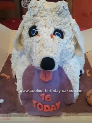 Homemade Bichon Fries Puppy 16th Birthday Cake
