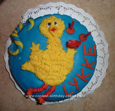 Homemade Big Bird Birthday Cake