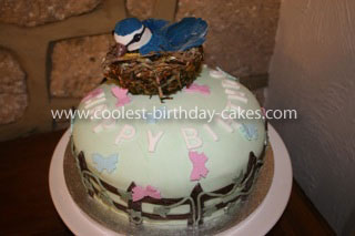 Homemade Bird in Nest Birthday Cake