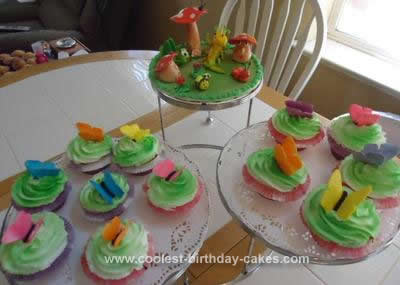 Homemade Birthday Bug & Butterfly Cupcake Cake