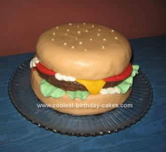 Homemade Birthday Burger Cake