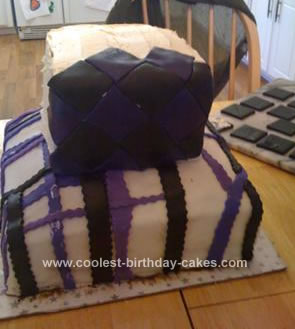 Homemade Black, Purple and White Birthday Cake