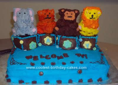 Homemade Baby Shower Cakes on Homemade Blocks Animals Baby Shower Cake