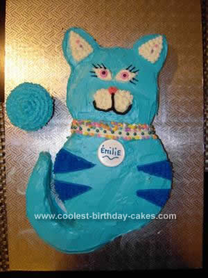 Homemade Blue Cat Birthday Cake