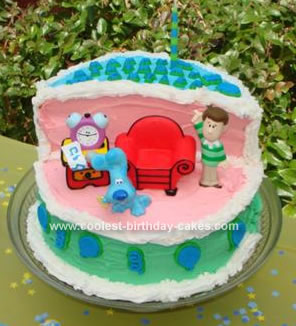 Homemade Blues House Birthday Cake