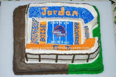 Homemade Boise State Football Cake