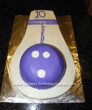 Homemade Bowling Ball & Pin Cake