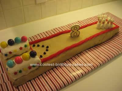 Homemade Bowling Lane Birthday Cake