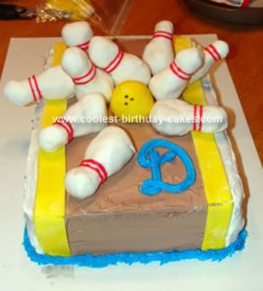 Homemade Bowling Party Birthday Cake