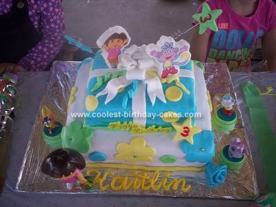 Homemade Dora Box  Birthday Cake