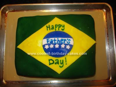 Homemade Brazilian Flag Cake