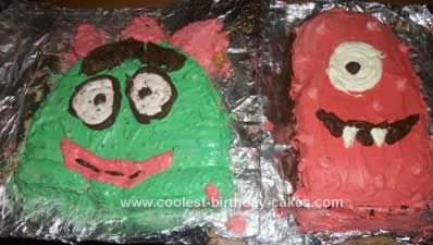 Homemade Brobee and Muno Birthday Cake
