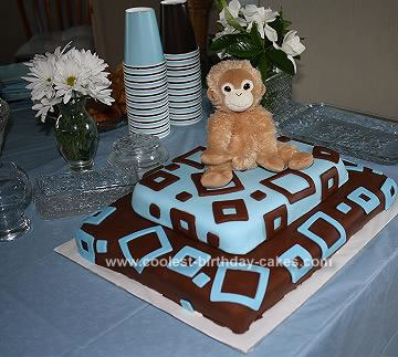Homemade Brown and Blue Square Fondant Baby Shower Cake