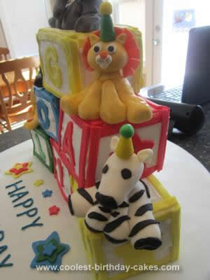 Homemade Building Block Birthday Cake