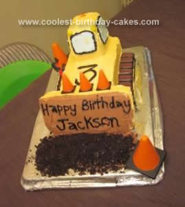 Homemade Bulldozer Birthday Cake