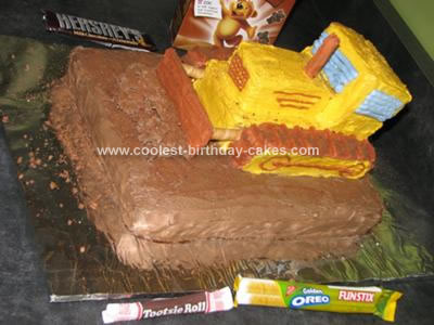Homemade Bulldozer Kids Birthday Cake