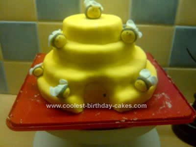 Homemade Bumble Bees and Hive Birthday Cake