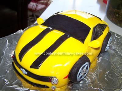 Homemade Bumblebee Camaro Birthday Cake