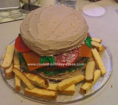 Homemade Burger And Fries Birthday Cake