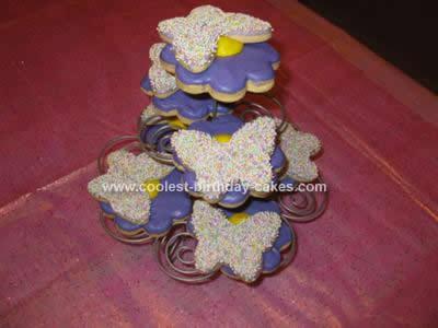 Homemade Butterflies and Daisies Birthday Cake
